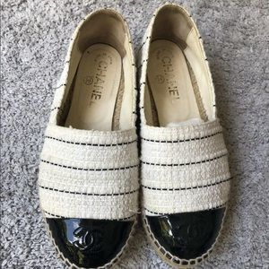 Authentic Chanel Canvas Tweed Espadrilles Size 36
